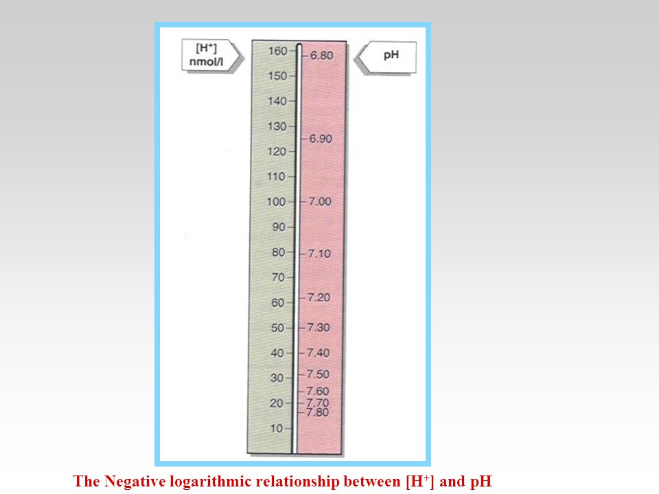 The Negative logarithmic relationship between [H+] and pH
